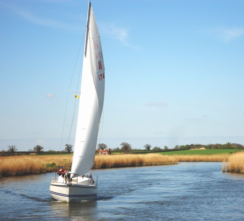 Sailing Boat on River Bure, Norfolk Broads